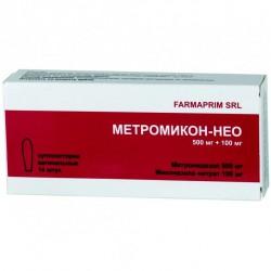 Метромикон-Нео, супп. ваг. 500 мг+100 мг №14